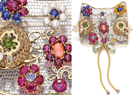 Enchères Sotheby's NY avril 2014 broche chat Khan Mutlu BusBy Jewelry