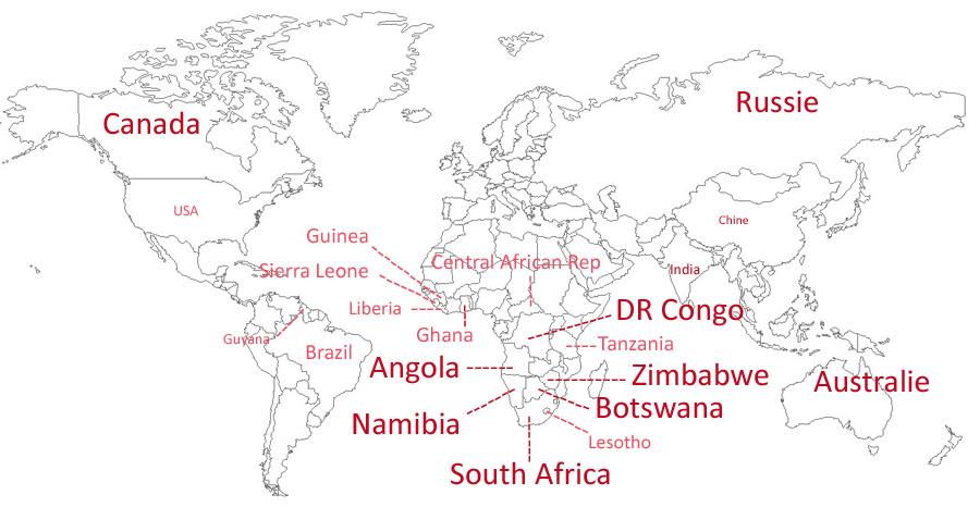 Les principaux pays producteurs de diamants bruts BusBy Jewelry
