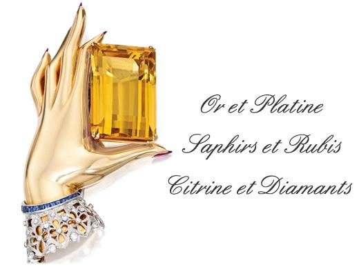 Vente aux encheres bijoux sotheby's broche annee 40 citrine, rubis, diamants et saphirs  BusBy Jewelry