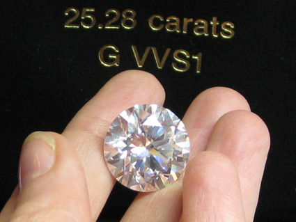 25.25 cts GVVS1 diamant taille ronde Busby Jewelry Genève Paris