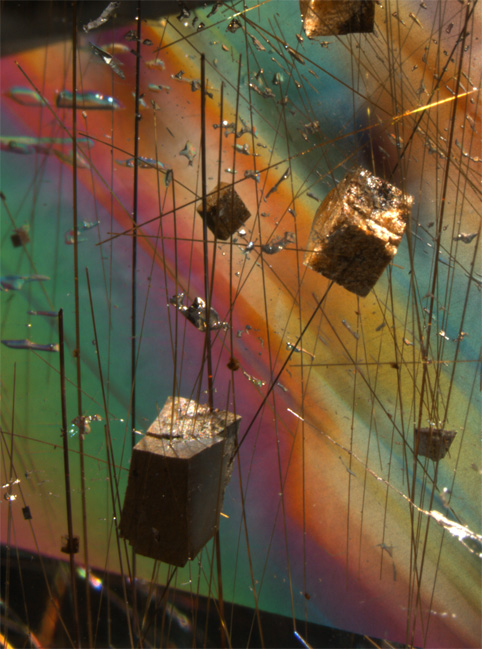 Inclusions dans quartz cristal de roche