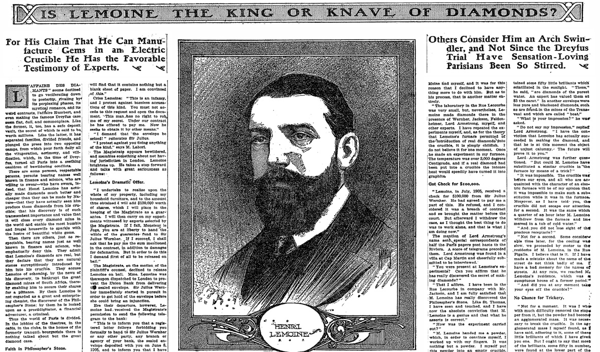 l'affaire des diamants de Lemoine le New York Times 1908
