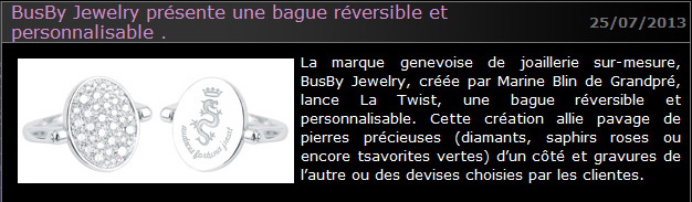 Article presse Busby presente la Twist abc-luxe.com