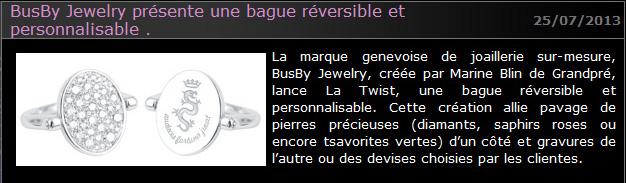 Article presse Busby presente la Twist abc-luxe.com
