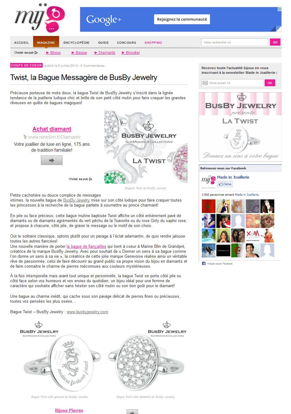 Article de presse BusBy presente la Twist dans Made in Joaillerie