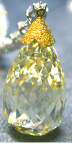 Briolette diamants 75 cts fancy intense yellow