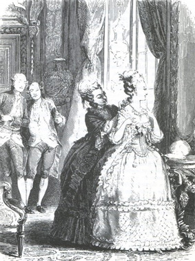 l'affaire du collier :  Marie-Antoinette essayant le collier