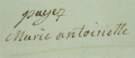 l'affaire du collier : signature de Marine-Antoinette