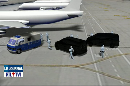 reconstitution du braquage a l'aeroport de Bruxelles
