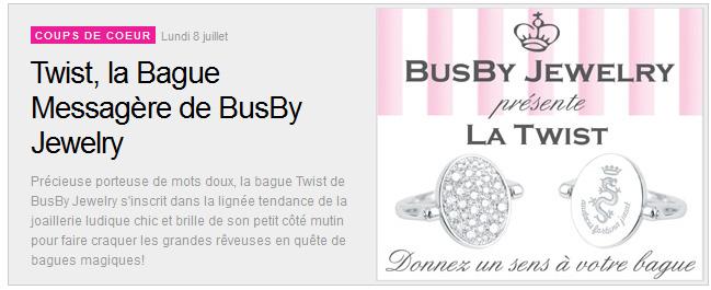 Article presse Busby presente la Twist dans Made in Joaillerie