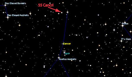 La position de 55 Cancri e dans le ciel , BusBy Jewelry